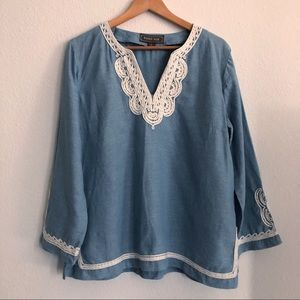 J. CREW POINT SUR TUNIC WITH EMBROIDERED TRIM L